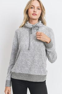 Two Tone Brushed Knit Drawstring Cowl Neck Top, H. Grey