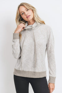 Two Tone Brushed Knit Drawstring Cowl Neck Top, Taupe