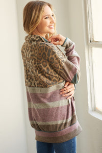 Chilling for the Day Stripe & Leopard Contrast 1/2 Zip Top, Mauve/Teal
