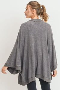 Cozy Cuddles Soft Brushed Knit Open Cardi Kimono, Charcoal