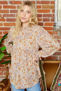 Spring Spirit Floral Ruffle Accent Blouse, Rust Mix