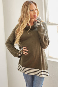 Day Dreamer Thermal Cashmere-Feel Tunic w/ Stripe & Button Cuffs, Olive
