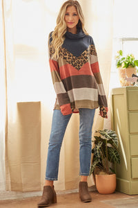 Wild Thing Leopard Chevron Color Block Cowl Neck Top, Rust/Moss