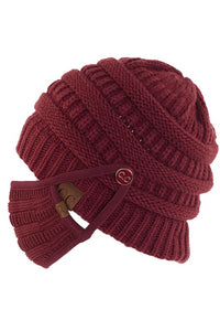 C.C. Knit Mask Button Beanie, Maroon