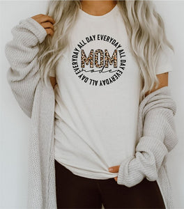 *PREORDER*: Mom Mode All Day Everyday Leopard Tee, XS-3X, Cream