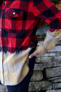 Highs & Lows Bleach Dipped Flannel Shirt, Red/Black