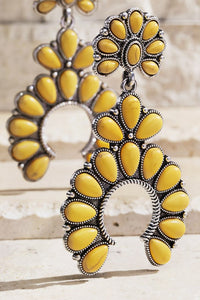 Bohemian Blossom Natural Stone Earrings, Mustard