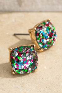 Charming Sparkling Glitter Faceted Stud Earrings (4 Colors)