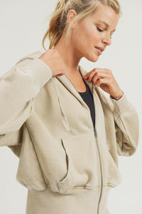 Set It In Motion Mono B Super Soft Burnout Hooded Jacket, Natural