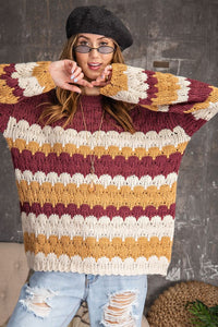 My Pleasure Multicolor Scallop Knit Sweater, Plum Mix