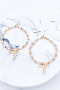 "Glass Bead Cross Pendant 3"" Hoop Earrings, Beige"
