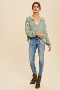 Keep It Moving Contrast V-Neck Hacci Top, Sage