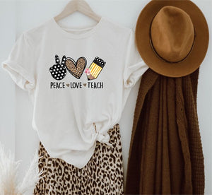 *PREORDER*: Peace Love Teach Graphic Tee XS-3X, Cream