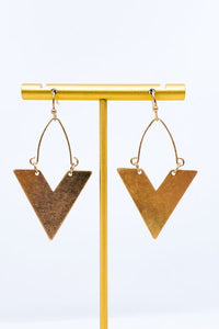"Worn Plated Chevron 1.75"" Drop Earrings, Worn Gold"