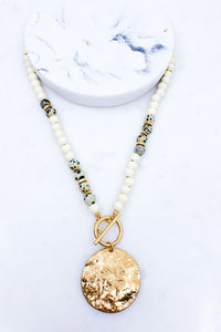 Wood & Dalmatian Beaded Coin Pendant Necklace, Ivory