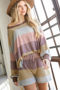 Couch Surfing Soft Jersey Multi Stripe Print Shorts, Mauve Multi