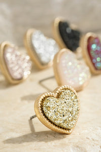 Shimmering Druzy Heart Stud Earrings (3 Colors)