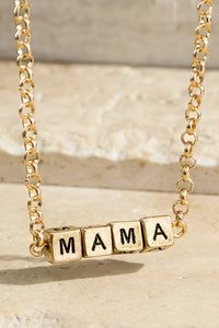 "Baby Block MAMA Charm 16"" Necklace (Gold or Silver)"