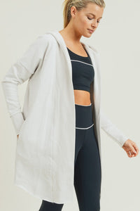 Can't Be Stopped Mono B Open Front Longline Hoodie Cardigan, Natural