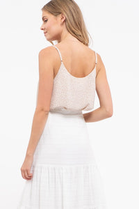 Never Looking Back Woven Print Cami, Beige