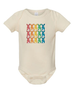 *PREORDER*: MOMMY & ME Colorful Easter Bunny Baby Onesie NB-18mo, (3 Colors)