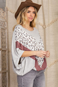 Key To Happiness Leopard V-Shape Oversized Kimono Fit Knit Top, H Grey