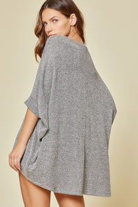 I Got You Babe Dolman Sleeve Oversized Knit Top, H Charcoal
