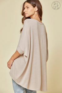 (CURVY) I Got You Babe Dolman Sleeve Oversized Knit Top, Taupe