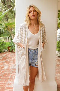 Got You Covered Oversized Stripe Mix Knit Cardi Coverup, Taupe/Ivory