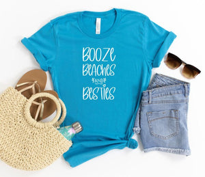*PREORDER*: Booze Beaches & Besties Graphic Tee XS-3X, (4 Colors)