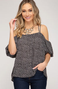 Bubble Sleeve Off the Shoulder Woven Print Top, Black