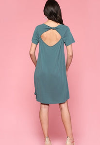 Cupro T-Shirt Dress with Open Knotted Back Detail, Antique Blue