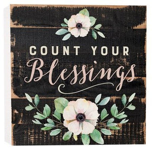 Count Your Blessings Solid Wood Word Block