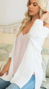 Make Your Way Open 3/4 Sleeve Spring Cardigan, Ivory