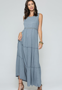 Crochet Cut Out Back Tiered Jersey Maxi Dress, H Navy