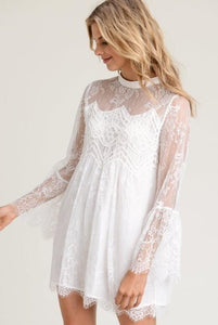 Lace Bell Sleeve Tunic/Dress, Off White