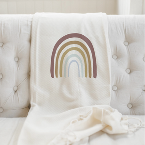 Traditional Rainbow Throw Blanket, Natural