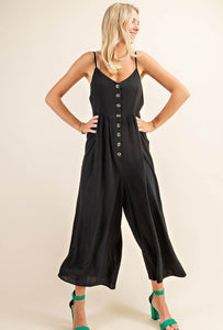 Button Front Rayon Crepe Jumpsuit, Black