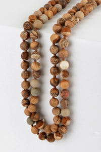 "60"" Long Natural Stone Bead Necklace, Picture Jasper"