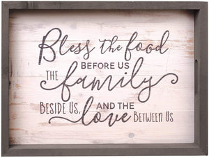 Bless The Food Family Love Script Farmhouse Serving Tray