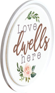 Love Dwells Here Large Carved Wall Plaque