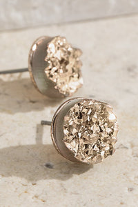 Glitzy Girl Round Druzy Post Earrings, Rose Gold