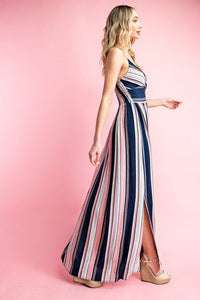 Twist Front Stripe Maxi Dress, Multi