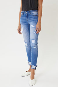KanCan Seize the Day Mid Rise Distressed Ankle Skinny Jeans, Med Wash