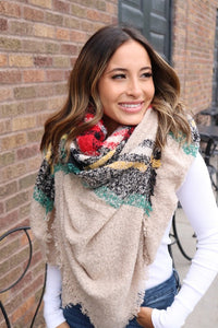 Home For The Holidays Plaid Blanket Scarf, Taupe