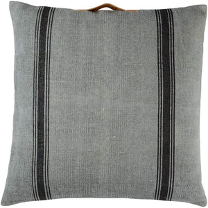 Mud Pie* Large Square Farmhouse Grey/Black Pillow w/ Leather Handle