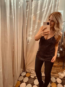 Sequin Cami Tank Top, Black
