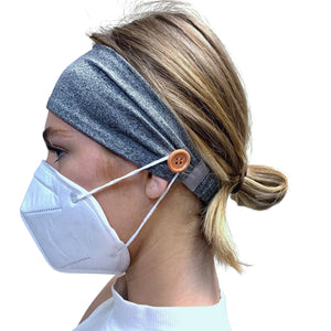 Mask Holding Button Headband, Black