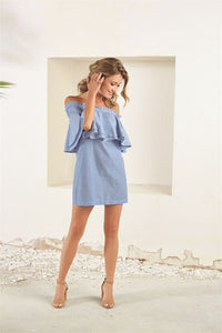 Mud Pie* Off the Shoulder Chambray Dress, Lt Blue