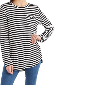 Mud Pie* Long Sleeve Striped Pocket Jersey Tee, Black/White